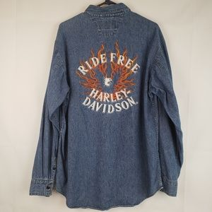 Harley davidson mens Denim Button down Free Ride M